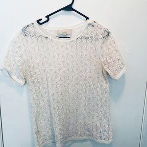 LOFT White lace shirt